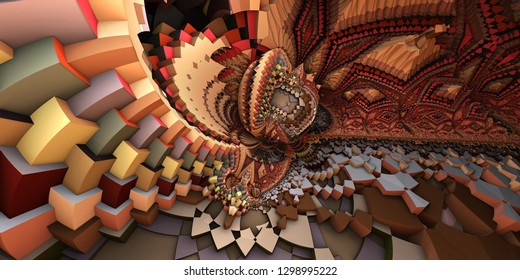 3D abstract landscape, escher style cube shapes arranged into organic spherical shapes,  red and gray/orange colored illustration. Computer generated artwork, fractal recursive arrangement of shapes.