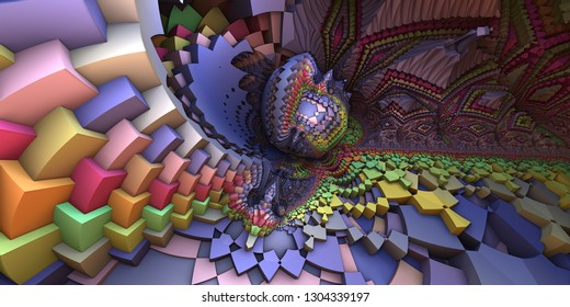 3D abstract landscape, escher style cube shapes arranged into organic spherical shapes,  purple/pastel colored illustration. Computer generated artwork, fractal recursive arrangement of shapes.