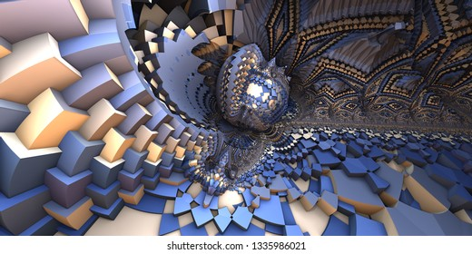 3D abstract landscape, escher style cube shapes arranged into organic spherical shapes, blue and yellow illustration. Computer generated artwork, fractal recursive arrangement of shapes.