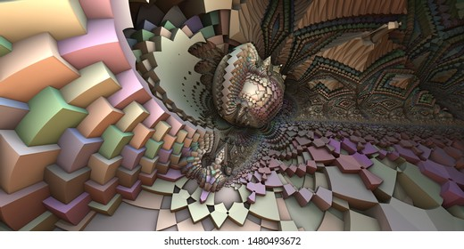 3D abstract landscape, escher style cube shapes arranged into organic spherical shapes, blue and orange illustration. Computer generated artwork, fractal recursive arrangement of shapes.