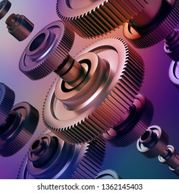 3d abstract machinery background, gearwheels elements