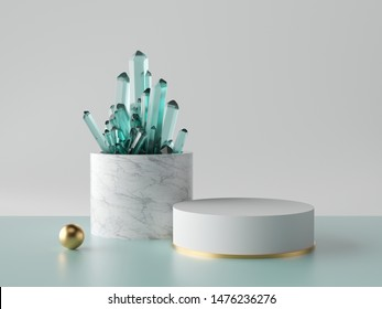 3d abstract minimal background, aquamarine blue crystal nugget, marble cylinder pedestal, showcase podium, blank product display mockup, isolated objects, fashion concept, simple clean design