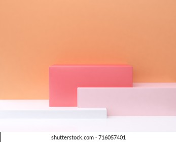 3d abstract minimal background orange wall square pink white 3d rendering