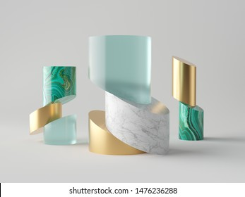 3d abstract minimal fashion background, cut cylinder tubes, blocks, luxury concept, isolated objects, aquamarine blue glass, gold metal, white marble, malachite, simple clean design, decor elements