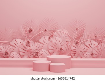 3d abstract minimal geometric. Fashion show stage podium with tropical palm leaves and Monstera plant. Empty scene for product show and mock up. Summer time background
