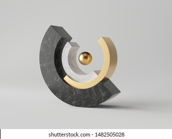 3d abstract minimal modern background, cut cylinder blocks isolated on white, black marble, gold ball, simple clean design, classy decor, balance concept