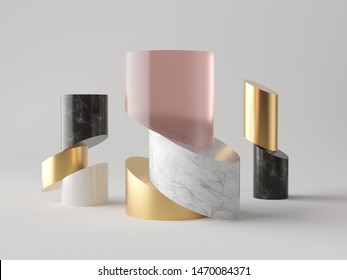 3d abstract minimalist fashion background, cut cylinder blocks, isolated objects, rose pink glass, gold, white and black marble stone texture, fashion elements, simple clean design, classy decor