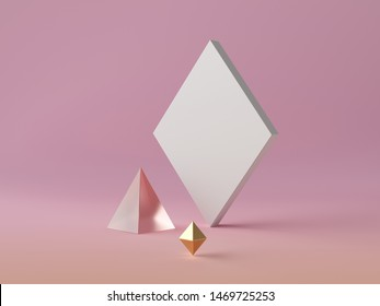 3d abstract modern minimal background, white rhombus canvas isolated on pink, golden crystal polygonal shapes, glass pyramid, fashion minimalistic scene, simple clean design, blank feminine mockup