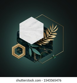 3d abstract modern minimal background with paper palm leaves, black white gold polygonal banner frames isolated on green, marble texture, hexagon, honeycomb, geometric design, blank fashionable mockup