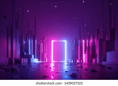 3d abstract neon background, cyber space virtual reality, ultraviolet glowing frame, portal at the end of the street of fantastic city, minimal skyscrapers, post apocalyptic urban concept, night sky
