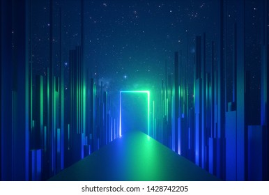 3d abstract neon background, glowing rectangular portal, vertical lines in cyber space, urban scene in virtual reality, empty road in fantastic emerald city, skyscrapers under the night sky