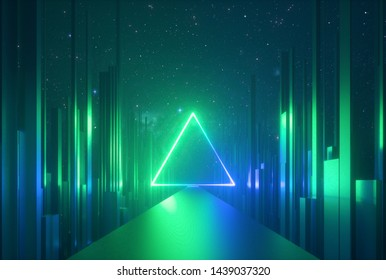 3d abstract neon background, glowing triangle of light, vertical lines in cyber space, urban scene in virtual reality, empty road in fantastic emerald city, skyscrapers under the night sky