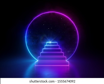 3d abstract neon background, night starry sky dreaming metaphor, round frame and steps, virtual universe, ultraviolet spectrum, glowing pink blue light, cosmic space