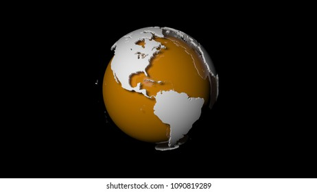 3d abstract planet earth with continents isolated