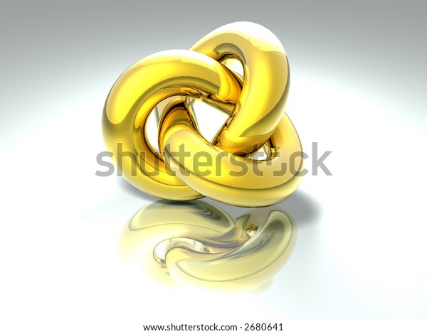 3D abstract rendered shape golden colors