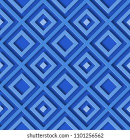3D abstract seamless geometric blue pattern background with rhombus