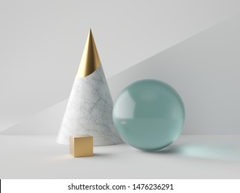 3d abstract simple geometric shapes on white background, marble cone, blue glass ball, aquamarine sphere, golden cube, minimalist objects, classy decor elements, modern clean design