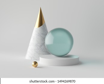 3d abstract simple geometric shapes on white background, marble cone, blue glass aquamarine sphere, golden ball, cylinder pedestal stand, minimalist objects, classy decor elements, modern clean design
