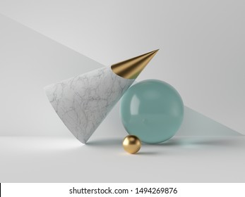 3d abstract simple geometric shapes on white background, marble cone, blue glass aquamarine sphere, golden ball, minimalist objects, classy decor elements, modern clean design