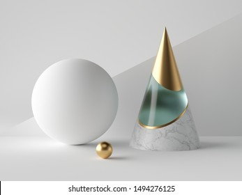 3d abstract simple geometric shapes on white background, blue gold marble cone, aquamarine glass, blank sphere, golden ball, minimalist objects, classy decor elements, modern clean design