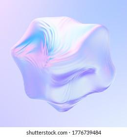 Forma líquida de tela holográfica suavizada abstracta 3D. Balón de tela con ondas ondeando sobre el viento. Representación 3D.