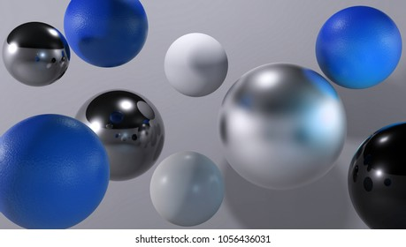 3d abstract spheres with reflective surface. Render.