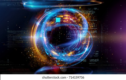 3d abstract tech background. Floating Numbers HUD Background. Matrix particles grid virtual reality. Smart build. Grid core. Hardware quantum form. Future technology. Decoding dna