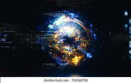 3d abstract tech background. Floating Numbers HUD Background. Matrix particles grid virtual reality. Smart build. Grid core. Hardware quantum form. Future technology Decoding dna.