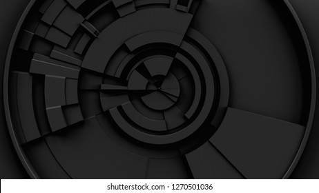 3d abstract technology background. Circular structure with random extrude elements. Centered composition.
