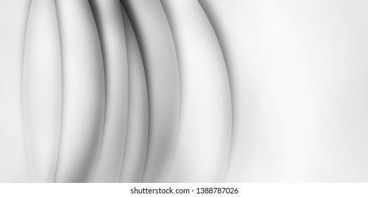 3D abstract white background with smooth wavy lines