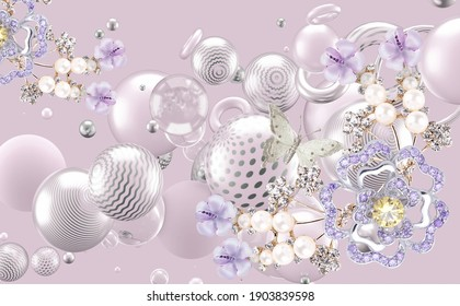 3D abstraction background wallpaper for walls. Beautiful flower background 3D wallpaper
