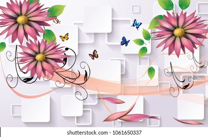 3d abstraction flower background wallpaper for walls.