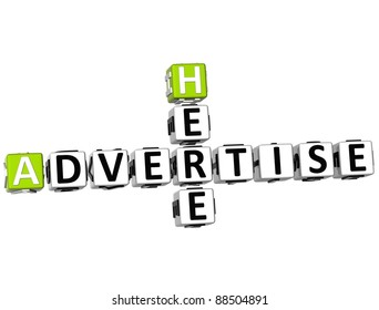 3D Advertise Here Crossword on white background
