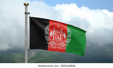 3D, Afghan flag waving on wind at mountain. Close up Afghanistan banner blowing, soft and smooth silk. Cloth fabric texture ensign background. Use it for national day and country occasions concept.