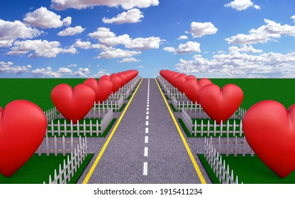 3d allegory of disconnect and isolation of modern society. Neighborhood of hearts. a symbol of loneliness, selfishness, separation and individualism, while preserving a facade of love and acceptance.