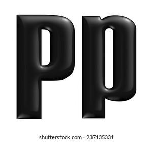 3D Alphabet letter P in black on white background.