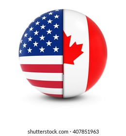 3d American and Canadian Flag Ball - Split Flags of the USA and Canada