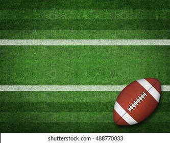 3d American Football with Yard Line on American Football Field