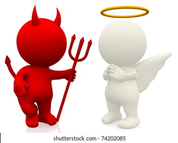 3D angel and devil - isolated over a white background