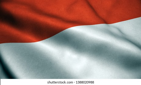 3d Animation of Indonesia flag. Realistic Indonesia Flag  waving in wind.