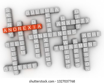 3d Anorexia nervosa is an eating disorder. Medical disorder and health problems concept.