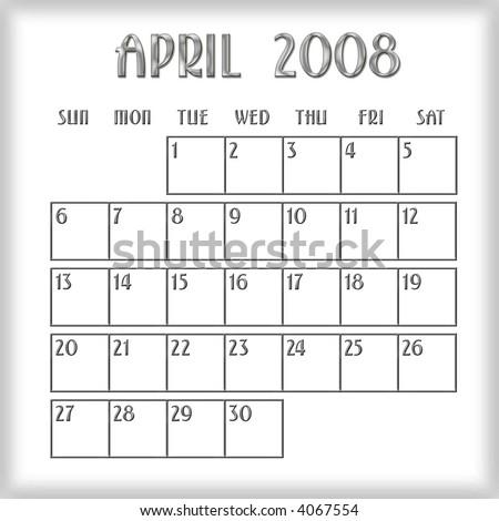 3 D April 2008 Calendar Stock Illustration 4067554 Shutterstock