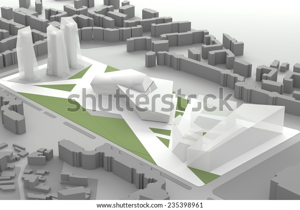 3d Architectural Model Downtown Business City Stock