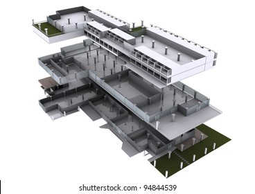 3d architecture exploded diagram,show an elements of architecture.