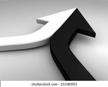 3d arrow black and white merging