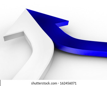3d arrow blue and white merging