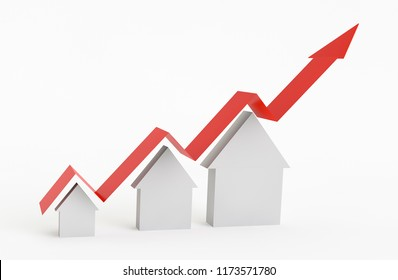 3D arrow growing with houses increasing the size on a white background. Concept of growing Real Estate prices. 3D Rendering.