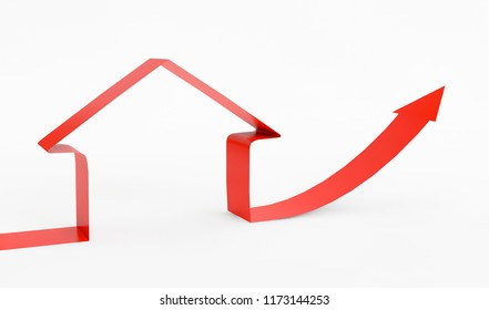 3D arrow up with house shape on a white background. Concep of growing Real Estate prices. 3D Rendering.
