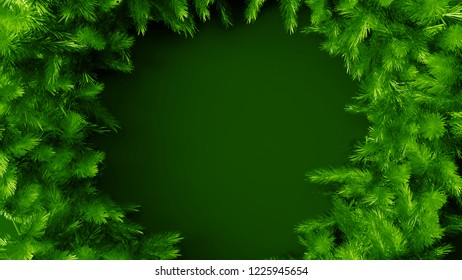 3d asbtract background with pine branch and place for the title text. Christmas or event background template.