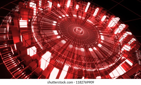 3d asbtract technology background. Circular structure with bright elements and lines. Centered composition.